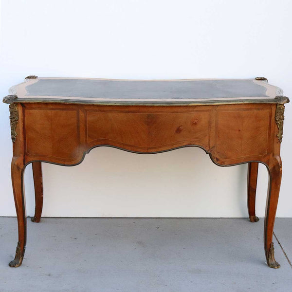 French Louis XV Style Ormolu Mounted Walnut Parquetry Writing Desk (Bureau Plat)