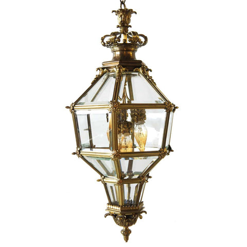 French Beveled Glass and Brass Hanging Four-Light Lantern