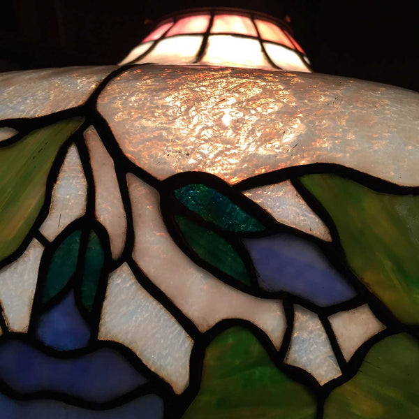 American Art Nouveau Copper Foil Leaded and Stained Glass Pendant Light