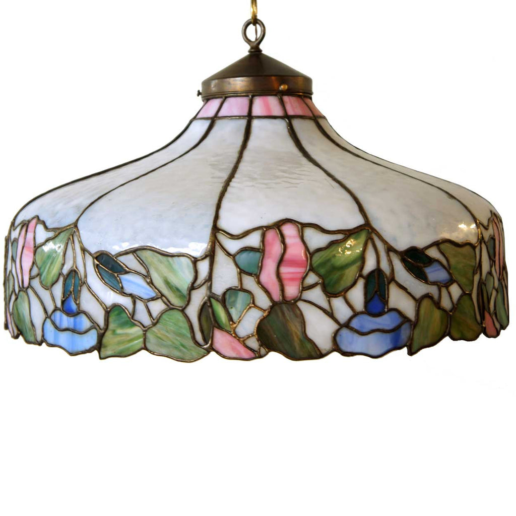 glass fixture chandelier light sold shop pendant crafts oak mission arts stained