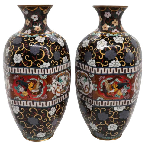 Pair of Japanese Meiji Cloisonne Enamel Hexagonal Baluster Vases