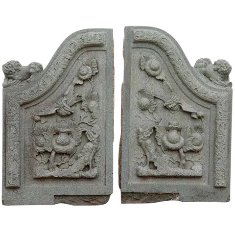 Pair of Chinese Qing Carved Green Stone Architectural Building Facade Carvings