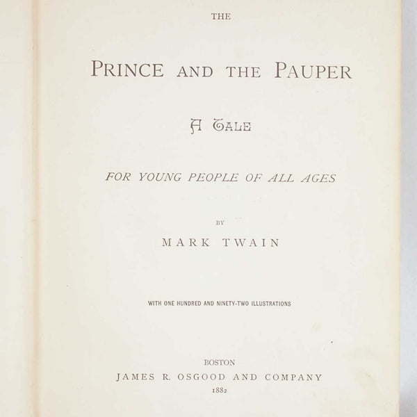 First Edition Book: The Prince and the Pauper by Mark Twain