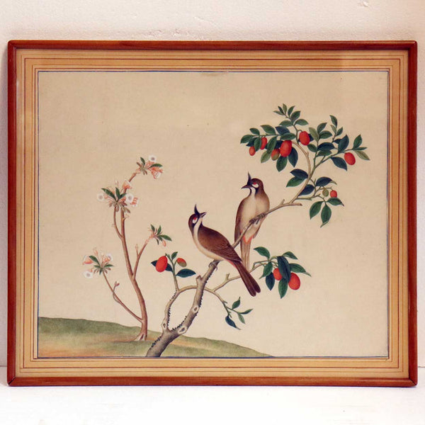 Japanese or Chinese Watercolor Painting of Birds on a Berry Branch