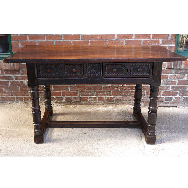 Early Spanish Baroque Chestnut Work Table