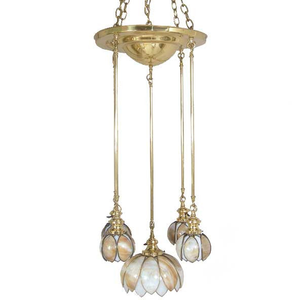 American Albert Sechrist Brass and Curved Opalescent Glass 5-Light Pendant Light