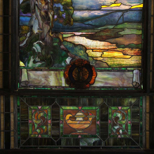 American Duffner and Kimberly Stained and Leaded Glass Sunset Triptych Window