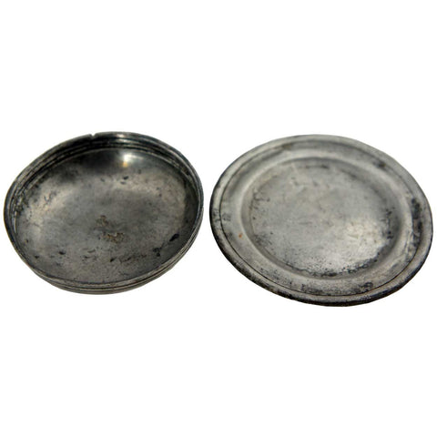 Early Small Pewter Plate and Lid