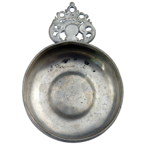 American New England IG Pewter Crown Handle Porringer