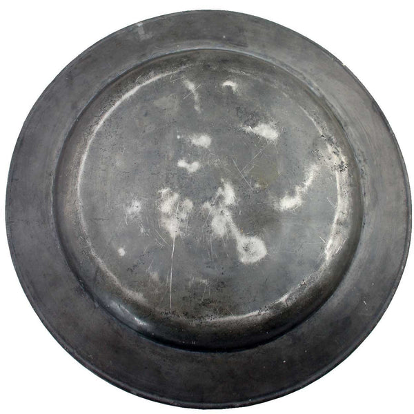 Large English Pewter Reeded-Rim Charger Plate