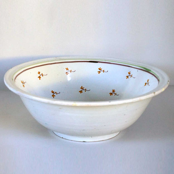 French or Spanish White Floral Faience Pottery Basin Bowl
