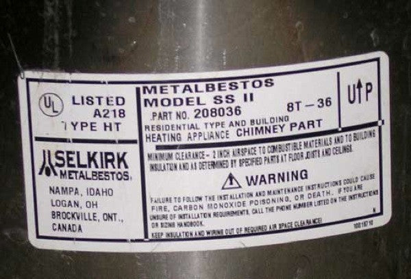 Fireplace Parts: Set of Three SELKIRK Metalbestos Chimney Liners