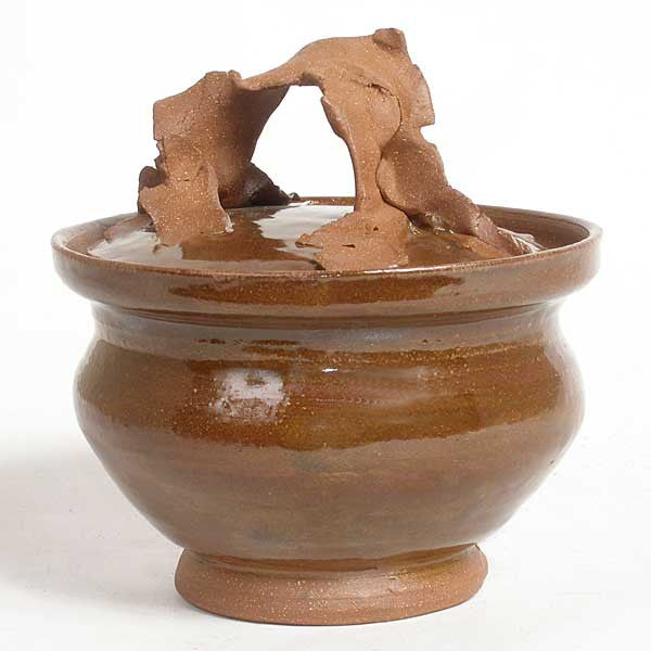 ERON JOHNSON Contemporary Art Pottery Brown Glaze Lidded Pot