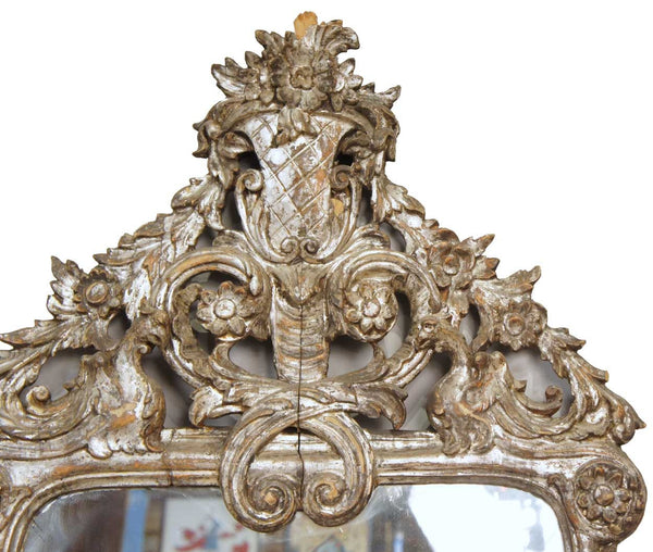 Rare Pair of Large Early Italian Baroque Silver Gilt Pier Mirrors