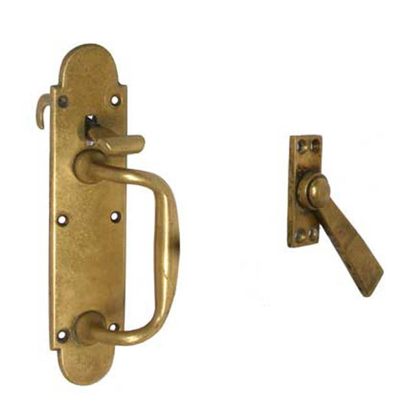 English Late Victorian Solid Brass Door Handle and Latch