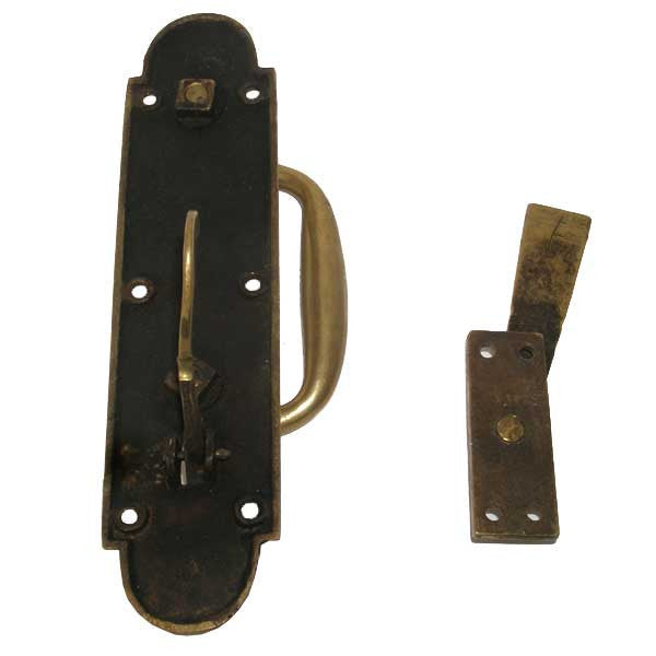 English Late Victorian Brass Door Handle and Latch