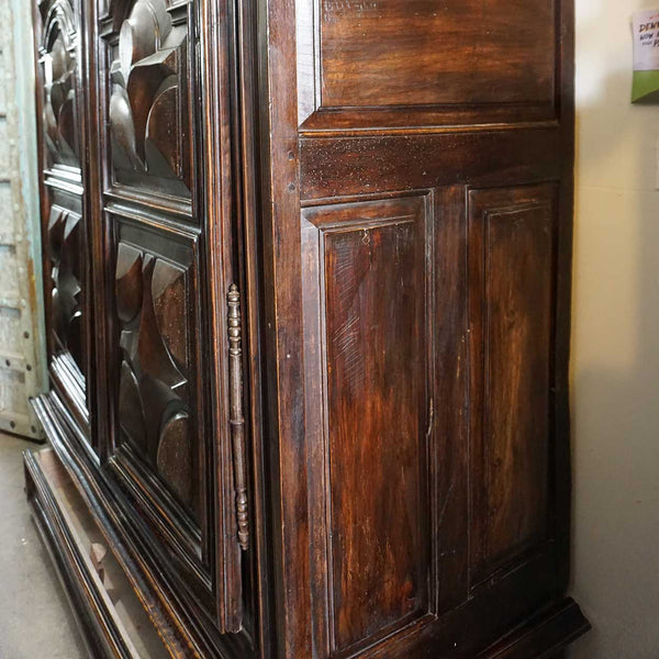 Large French Louis XIII Walnut Chateau Theobon Diamond Point Armoire