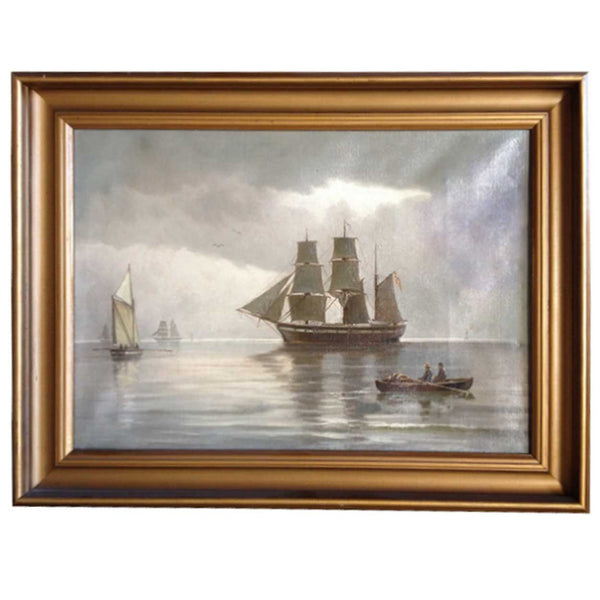 Norwegian Oil on Canvas Painting, Maritime Scene
