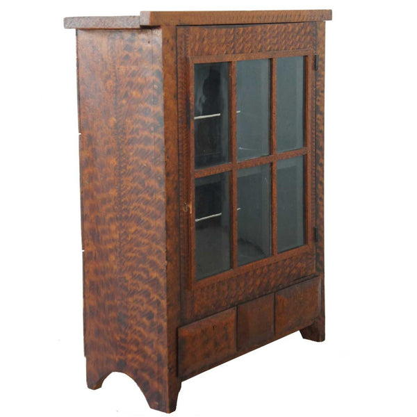 Small American Faux Grain Poplar Glass Door Side Cabinet