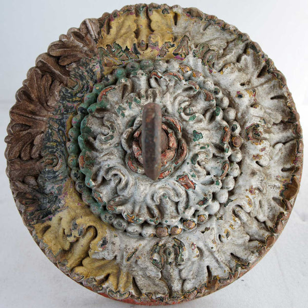 Indian Goan Carved and Painted Teak Ceiling Medallion Hook