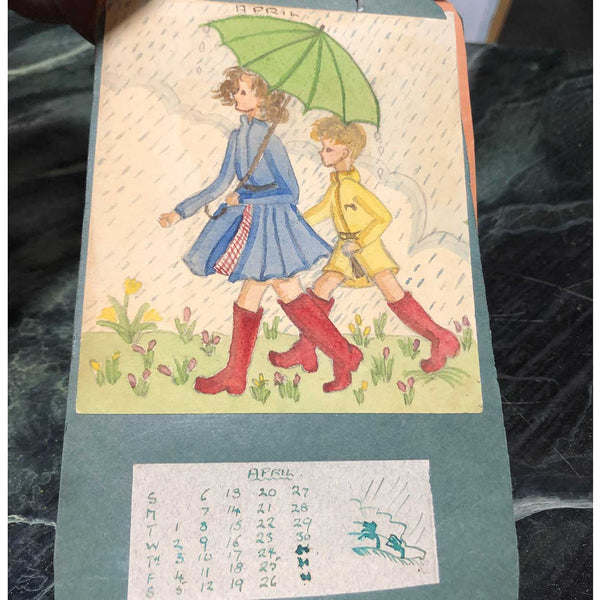 Vintage English Watercolor and Ink on Paper Schoolgirl Calendar