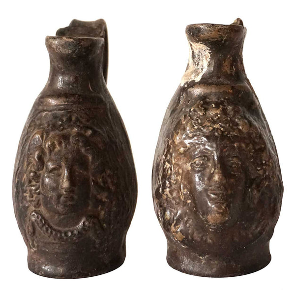 Pair of Small Ancient Glazed Pottery Pitchers