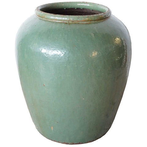 Large Chinese Jiaxing Celadon Pottery Water Urn