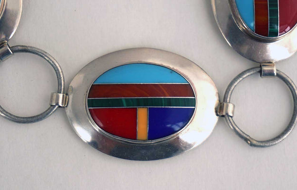 Vintage American Southwest Inlaid Multi-Stone Sterling Silver 17 Concho Style Belt