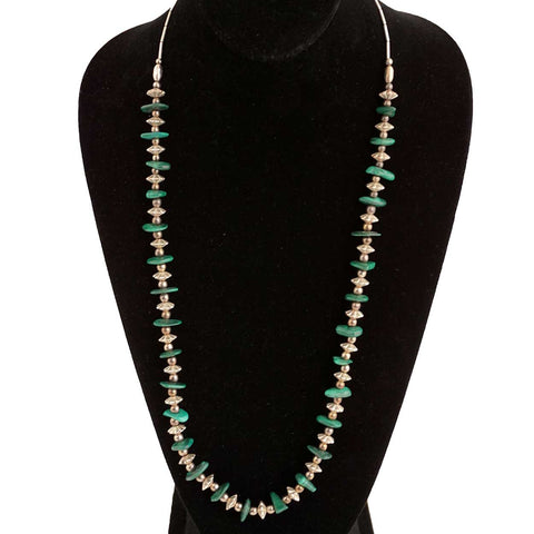 Vintage Southwest Long Silver, Silverplate and Malachite Bead Necklace