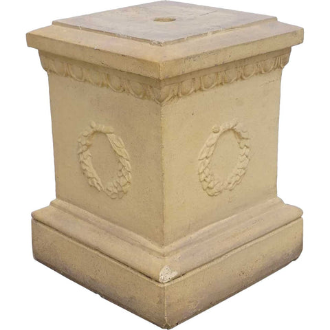 Small English Neoclassical Terracotta Square Garden Pedestal Plinth