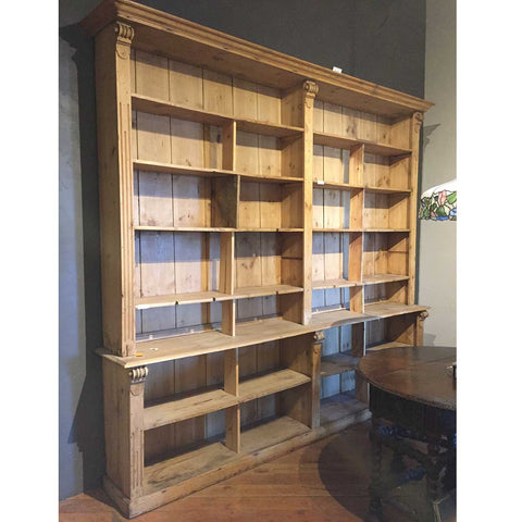 Large English Pine Bookcase Shop Fixture - Antique Display Cabinets