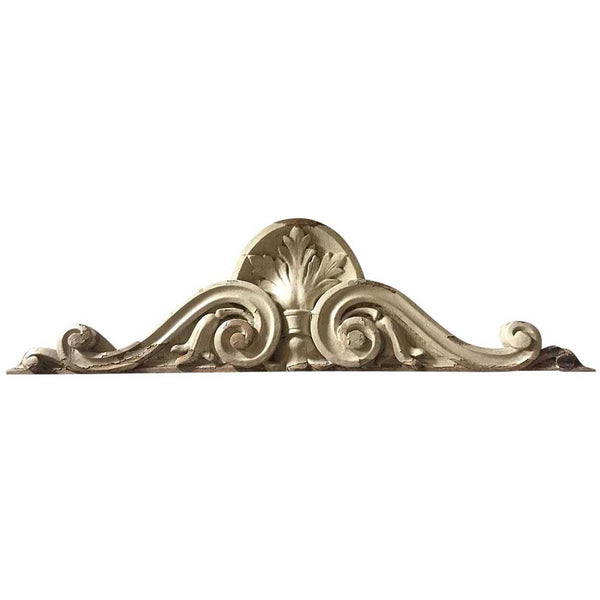 American Victorian White Painted Carved Mahogany Pediment Crest