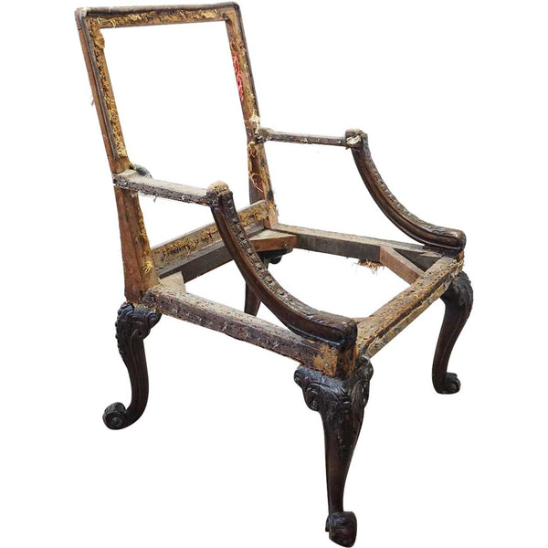 Rare English George III Carved Mahogany Library Armchair Frame