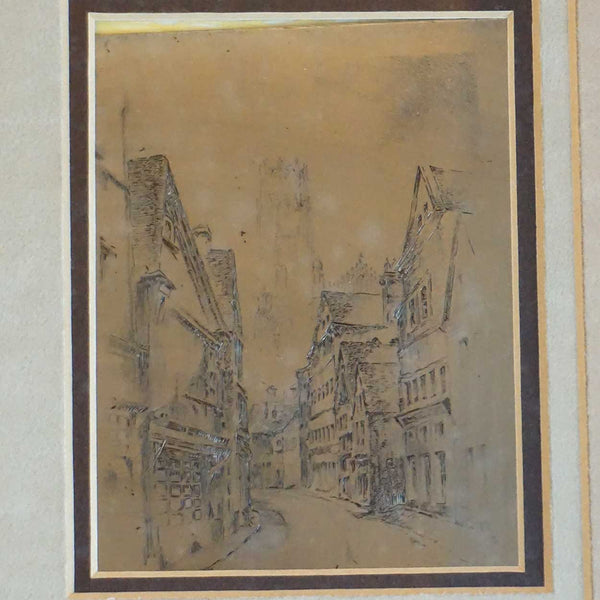 European Engraving and Printing Plate, Street and Cathedral Scene