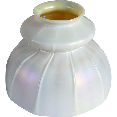 American Art Nouveau Opalescent Calcite and Gold Ribbed Bell Shape Lamp Shade
