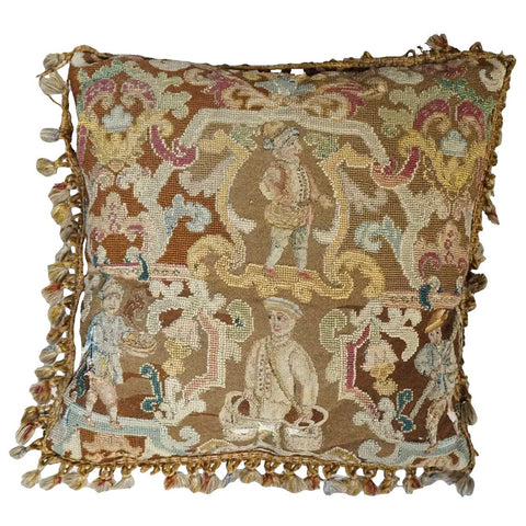 Early English 18th century Needlework and Tassel Trim Pillow