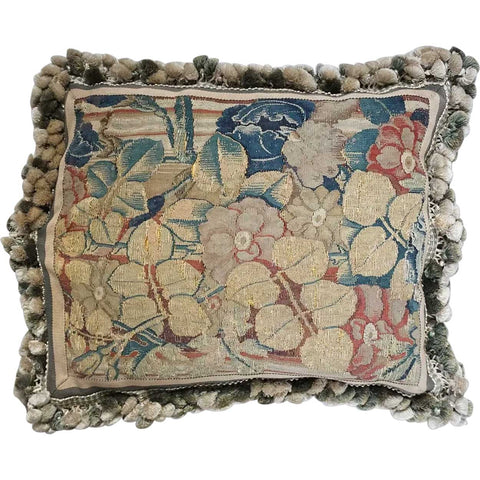 French 17th century Tapestry and Tassel Trim Throw Pillow