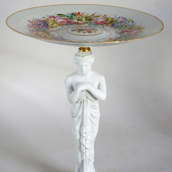 Pair of French Sevres Style Porcelain and Parian Figural Compotes