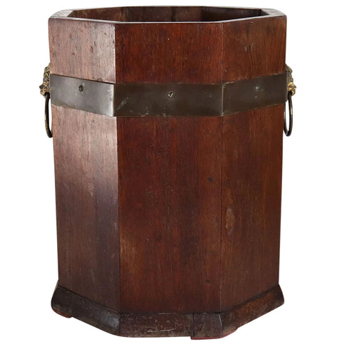 English Teak and Brass Mounted Lion Head Handles Octagonal Waste Paper Bin