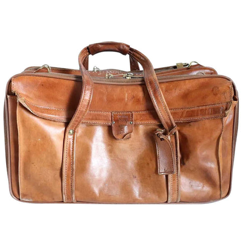 Vintage American Hartmann Luggage Brown Leather Weekender Bag