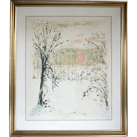 LEONHARD MEISSER Color Lithograph, Trees and Sunrise