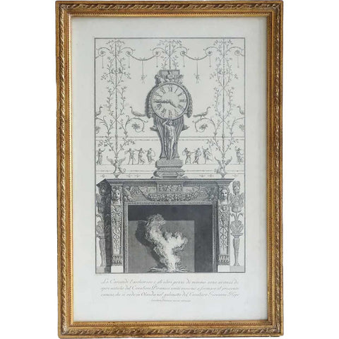 GIOVANNI BATTISTA PIRANESI Engraving, Clock and Fireplace