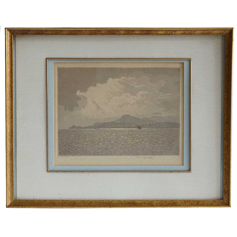CLAUDE H. ROWBOTHAM Aquatint, Isle of Arran (Veiled Sunshine)