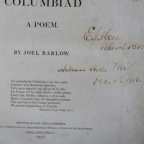 Large Leather Bound 1st Edition Book: The Columbiad, A Poem by Joel Barlow