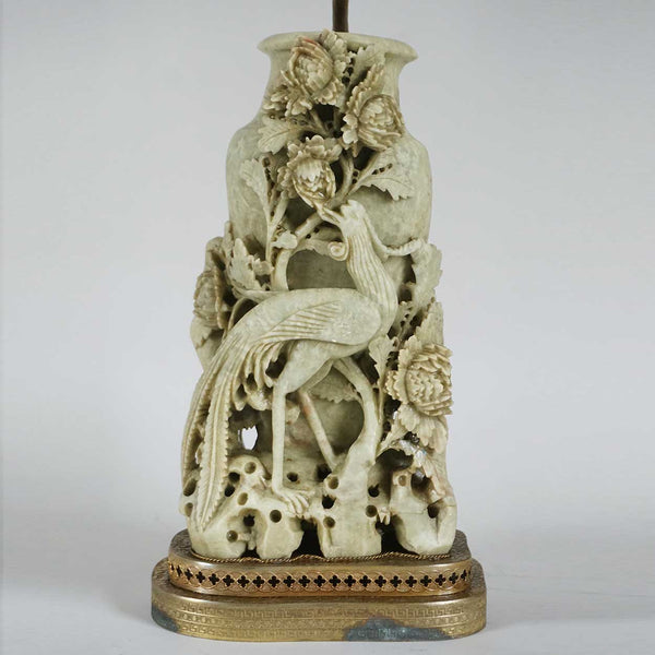Chinese Soapstone Peacock Vase Two-Light Table Lamp