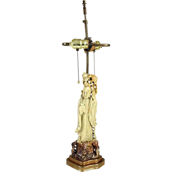 Chinese Soapstone Figural Guanyin Two-Light Table Lamp