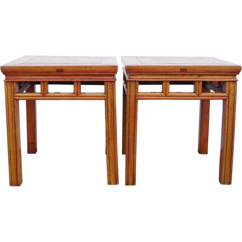 Pair of Vintage Chinese Elm Square Stools / Side Tables