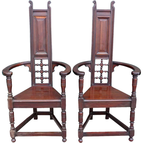 Pair Scottish School Liberty & Co. Arts and Crafts Mahogany Tall Back Shakespeare Armchairs