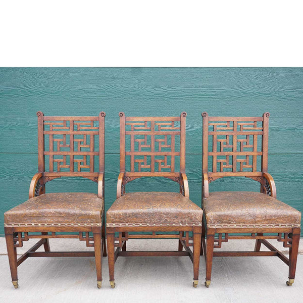 Set of Three English Blyth & Sons Aesthetic Movement Mahogany and Leather Seat Lattice Side Chairs