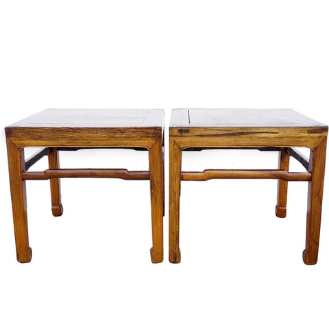 Pair Small Chinese Elm Square Side Tables